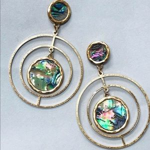 Abalone Shell Light Concentric Circle Earrings,NWT